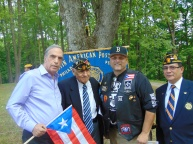 A member of the Borinqueneers & Latin Musical Entrepreneur Hector Maisonave with Vet USMC Juvencio Gonzalez, Spec.Asst. to Lt. Gov. Stack